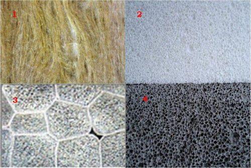 1 минвата, 2 вспененный полиэтилен, 3 пенополистирол, 4 вспененный бетон