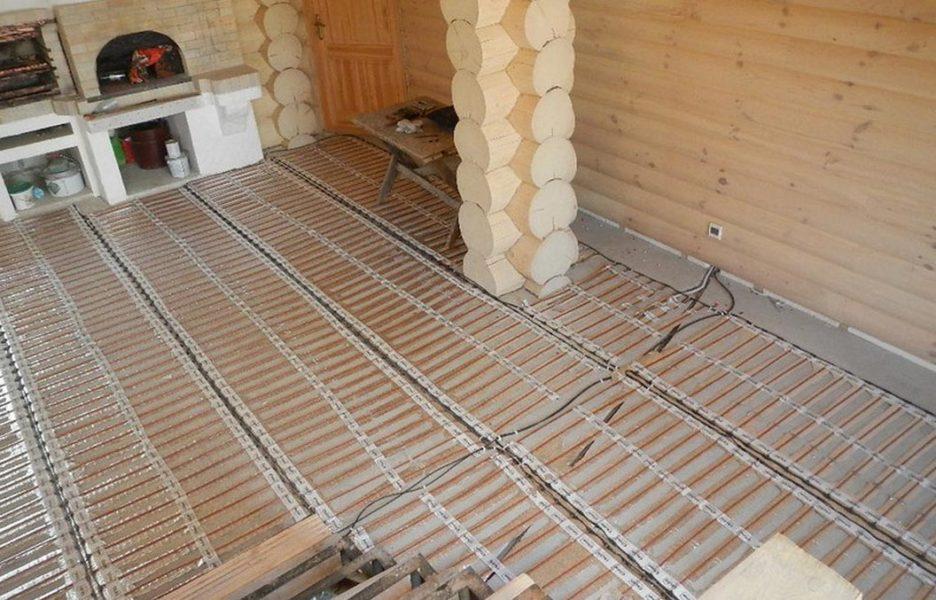Какое напольное покрытие выбрать для бани после установки системы теплого пола